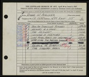 Entry card for Anliker, Roger William for the 1947 May Show.