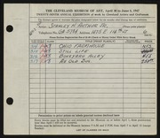 Entry card for Arthur, Stanley H. , Jr. for the 1947 May Show.