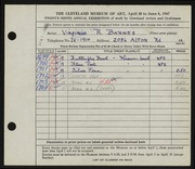 Entry card for Barnes, Virginia R. for the 1947 May Show.