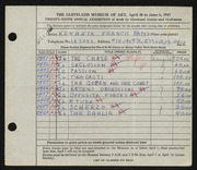 Entry card for Bates, Kenneth F. for the 1947 May Show.