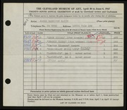 Entry card for Batie, James Bankston for the 1947 May Show.
