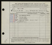 Entry card for Beck, Paul V. for the 1947 May Show.