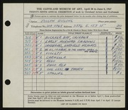 Entry card for Bulone, Joseph  for the 1947 May Show.