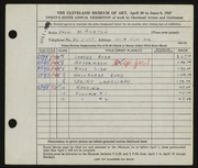 Entry card for Burton, Jack Munson for the 1947 May Show.
