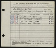 Entry card for Butnik, Samuel for the 1947 May Show.