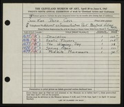 Entry card for Cass, Katherine Dorn for the 1947 May Show.