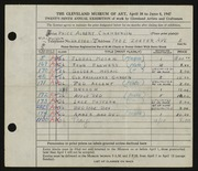 Entry card for Chamberlin, Price Albert for the 1947 May Show.