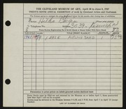 Entry card for Chegin, Hilda G. for the 1947 May Show.