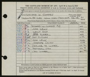 Entry card for Combes, Willard Wetmore for the 1947 May Show.