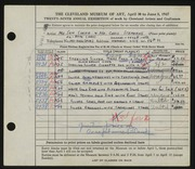 Entry card for Corea, Sam, and Stephens, Chris for the 1947 May Show.