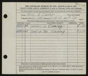 Entry card for Culver, Jere A. for the 1947 May Show.