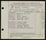 Entry card for Cykowski, George C. for the 1947 May Show.