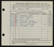 Entry card for Day, Ronald Nelson for the 1947 May Show.