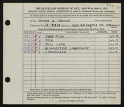 Entry card for Deike, Clara L. for the 1947 May Show.