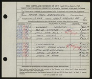 Entry card for Dubaniewicz, Peter Paul for the 1947 May Show.