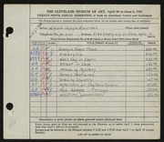 Entry card for Eastman, William Joseph for the 1947 May Show.