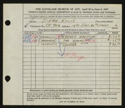 Entry card for Ellis, Dean W. for the 1947 May Show.