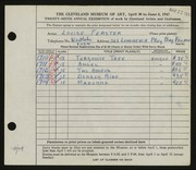 Entry card for Ferster, Louise for the 1947 May Show.