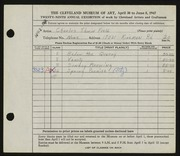 Entry card for Field, Charles Edwin for the 1947 May Show.