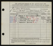 Entry card for Fisher, James Barak for the 1947 May Show.