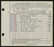 Entry card for Frahme, Bill for the 1947 May Show.