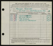 Entry card for Friedman, Marjorie Greenbaum for the 1947 May Show.
