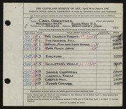 Entry card for Gaertner, Carl Frederick for the 1947 May Show.