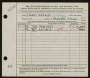 Entry card for Gerald, Elizabeth Bart for the 1947 May Show.