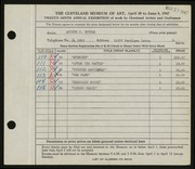 Entry card for Gutter, Arthur J. for the 1947 May Show.
