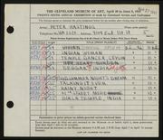 Entry card for Hastings, Peter Paul for the 1947 May Show.