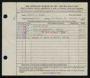 Entry card for Haynes, Francis H. for the 1947 May Show.