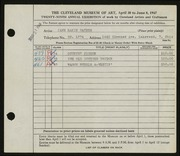 Entry card for Haynes, Jane Eakin for the 1947 May Show.