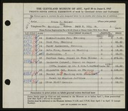 Entry card for Heiser, Bruce D., and Jeffery, Charles Bartley for the 1947 May Show.