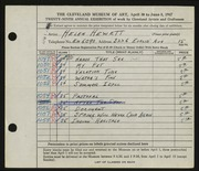 Entry card for Hewett, Helen Bernice for the 1947 May Show.