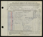 Entry card for Hewit, Mabel A. for the 1947 May Show.