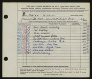 Entry card for Higgins, Martha for the 1947 May Show.