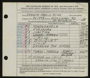 Entry card for Hugh, Kenneth Marcus for the 1947 May Show.