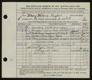 Entry card for Hughes, Mary Ruth Wilcox for the 1947 May Show.