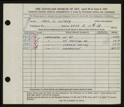 Entry card for Katona, Paul for the 1947 May Show.