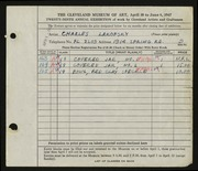 Entry card for Lakofsky, Charles  for the 1947 May Show.