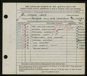 Entry card for Land, Jerome for the 1947 May Show.