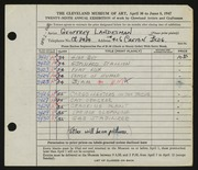 Entry card for Landesman, Geoffrey, and Caxton Company for the 1947 May Show.