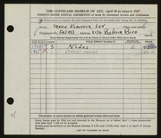 Entry card for Lev, Irene for the 1947 May Show.