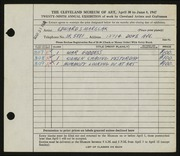 Entry card for Marecak, Edward for the 1947 May Show.