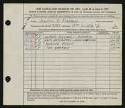 Entry card for Maxham, Vernon P. for the 1947 May Show.