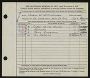 Entry card for McCullough, Joseph for the 1947 May Show.