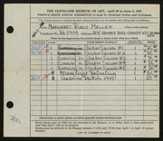 Entry card for Mellen, Margaret Riggs for the 1947 May Show.