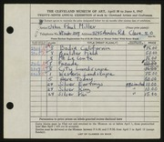 Entry card for Miller, John Paul for the 1947 May Show.