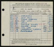 Entry card for Miller, Leon Gordon for the 1947 May Show.