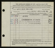 Entry card for Miller, William for the 1947 May Show.